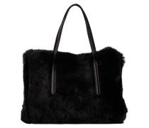 Handtasche mit Fellbesatz - schwarz