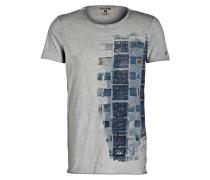 T-Shirt - grau meliert/ blau