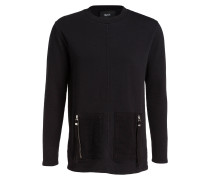 Sweatshirt HUNT im Materialmix - schwarz