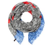 Leinenschal CIJOHAN - grau/ blau/ rot