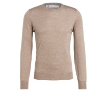 Cashmere/Seide-Pullover - taupe meliert