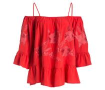 Off-Shoulder-Bluse aus Seide - rot