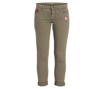 7/8-Jeans LILI mit Patches - oliv
