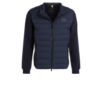 Sweatjacke im Materialmix - marine