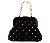 Samt-Handtasche mit Perlenbesatz - schwarz