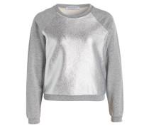Sweatshirt - grau meliert/ silber