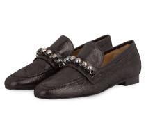 Slipper CARLA mit Perlenbesatz - schwarz