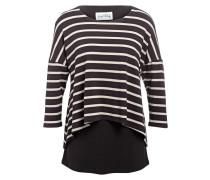 Shirt mit 3/4-Arm - schwarz/ beige
