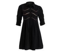 Blusenkleid mit Spitzeneinsätzen - schwarz