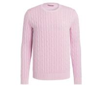 Pullover mit Zopfmuster - rosa