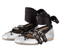 Ballerinas - silber/ schwarz