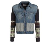 Jeansjacke im Materialmix - blau