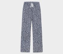 Bequemer Herren Pyjama aus Baumwolle Gemustert Blau