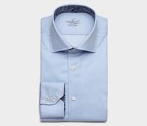 Langarm Hemd aus Baumwolle Slim Fit Gestreift Hellblau