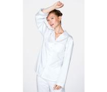 Bequemer Damen Pyjama aus Baumwolle weiß