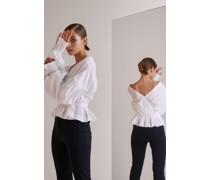 Lässige Bluse mit Schößchen aus Baumwolle Slim Fit weiß