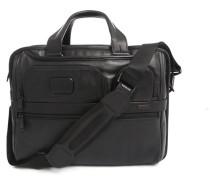 Schwarze erweiterbare Computertasche aus Leder Alpha Business