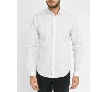Weißes Slim-Hemd mit Flecken-Muster