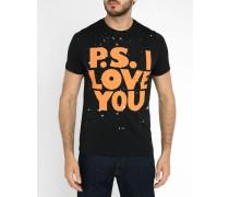 Schwarzes T-Shirt mit Love-You-Print