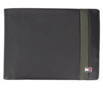 Leder-Portemonnaie mit Streifen in Schwarz