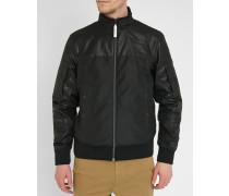 Schwarze Nylon-Jacke mit Reißverschluss Nancor