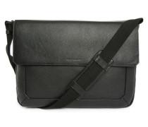 Messenger Bag aus schwarzem Narbenleder Bruno