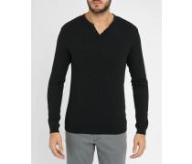 Schwarzer Pullover mit Knopfleiste und Lederdetails