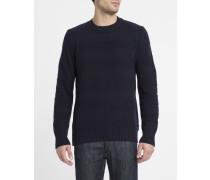 Marineblauer Rundhalspullover Standard aus Wollgemisch Stripe
