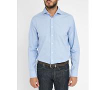 Himmelblaues Slimfit-Hemd mit italienischem Kragen, Minikaromuster und Detail in Libertyblau ( 73cm)