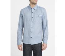 Blaues Oxford-Hemd mit Button-Down-Kragen Basic