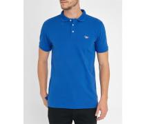 Königblaues Trikolore-Polo-Shirt mit Aufnäher