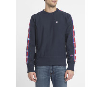 Blaues Sweatshirt Stripes mit Logo