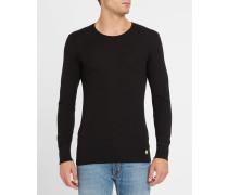 Anthrazitgraues langärmeliges T-Shirt aus Baumwolle und Wolle