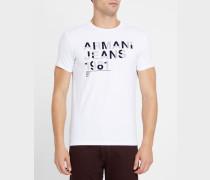 Geflocktes T-Shirt mit Rundhalsausschnitt und grauem AJ-Logo