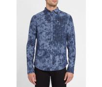 Slim-Fit-Hemd in Blau mit italienischem Kragen Sterne Tie and Dye