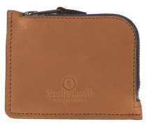 Kamelbraune Leder-Geldbörse mit Reißverschluss AS