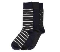 Dreierpack Socken mit Motiv in Blau