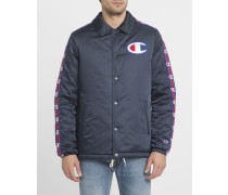 Marineblaue Coach Jacket mit Side Stripes-Logo