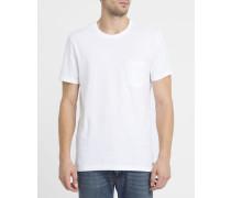 Weißes T-Shirt mit Brusttasche und Rundhalsausschnitt