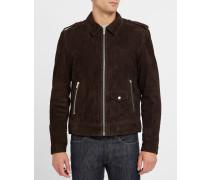 Braune Jacke aus Veloursleder mit Reißverschluss
