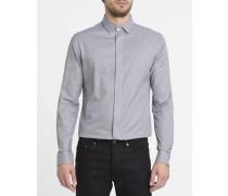 Graues Hemd Ettore mit Minikaromuster und verborgener Knopfleiste