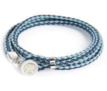 Doppel-Armband Diamond Button aus Silber und blauem Leder 38 cm