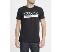 T-Shirt mit Rundhalsausschnitt und Bar-Druck in Schwarz
