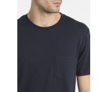 Marineblaues T-Shirt mit Rundhalsausschnitt und Brusttasche