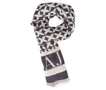 Weiß-blauer Schal aus Wolletamin mit Logo AJ