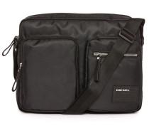 Schwarze Kuriertasche aus Nylon mit 2 Taschen Phasers