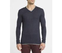 Pullover Ruvi mit doppeltem Kragen in gesprenkeltem Blau