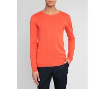 Korallefarbener Pullover Basic mit Rundhalsausschnitt