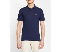 Poloshirt Kurzärmlig Klein Blau Piqué 2 Fäden Slim