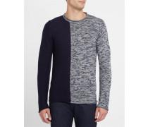Marineblau melierter und marineblauer, zweifarbiger Pullover mit ungesäumtem Rundhalsausschnitt